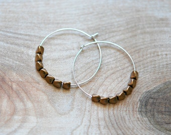 Hoop earrings, brass nuggets, sterling silver, mixed metals, copper, rose gold, modern, minimalist jewelry, gift for her - saline