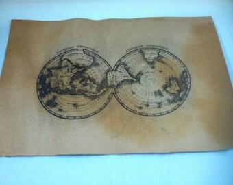 Laser burned leather world map