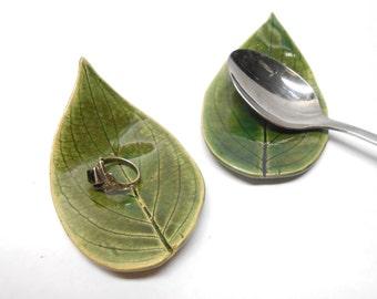 Pottery Leaf  Dish, Ceramic Leaves, Real Leaf Pottery, Ceramic Leaf Dishes, Teaspoon Rest, Chopstick Rest, Teabag Holder, in Green