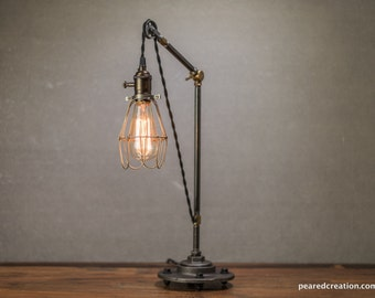 Pulley Lamp - Pulley Table Lamp - Pulley Light - Edison Table Lamp  - Industrial Lighting - Iron Pipe - Edison Cage