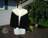 60's ribbon jacket with white mink collar, Hollywood style, Mad Men, Ribbon knit by Regalia, perfect for the Holidays