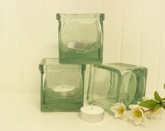 SET of Three Vintage Candle Votive Holders, Square Green Glass, Weighted Bottoms - Vintage Home Decor