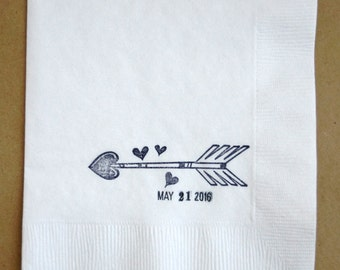 Wedding Napkins Love Heart Arrow Rustic Wedding Custom Napkins with wedding date Set of 50, ASAP Order Available