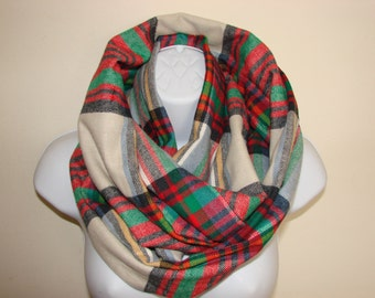 cream red greeen plaid infinity scarf,  Flannel Infinity Scarf, Nomand Cowl Woman Man Scarf, Unisex Fall Winter Fashion, Chistmas gift