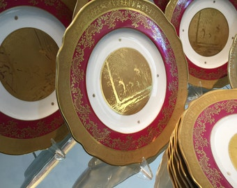 Vintage Plates/10 Dinner Plates/German St Bavarian/22KT Gold Embellishments/Deep Rose Border/Fine China/Fancy Dishes/Cabinet Display