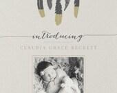 Boho Baby Announcement - Photo Baby Announcement - Birth Announcement