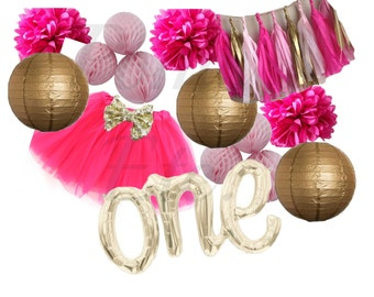 Party Pack- Photo Prop Pack- Confetti Balloons- Tutu- Tassels- tissue Pom Poms- Honeycomb balls- Birthday Kit/ high chair decorations/