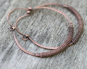 Rustic Plain Copper Wire Wrapped Coiled Wire Hoops earrings n236 - rustic caterpillar bohemian . artisan solid copper hoops . large wrapped