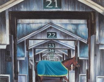 Keeneland Stables featuring America Pharoah chalk pastel print; Kentucky derby, thoroughbred horse, bourbon, wall decor art, wedding