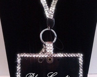 HORIZONTAL Bling Swarovski Crystal ID Name Badge/Tag Holder & Rhinestone Lanyard Set