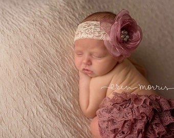 Rose bloomer set, dusty rose bloomers, bloomer set, newborn photo prop, photography prop, diaper cover, ruffle bum bloomers