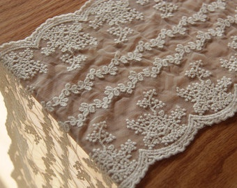ivory lace trim with double motif, embroidered lace trim with retro floral, wedding table runner lace trim, mesh lace, tulle lace