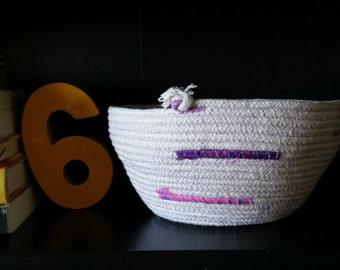 Handmade rope bowl -- small, rope basket