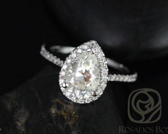 Tabitha 9x6mm 14kt White Gold Pear F1- Moissanite and Diamonds Halo Engagement Ring (Other metals and stone options available)