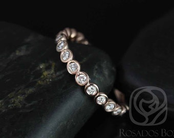 Bubbles Original Size 2.8mm 14kt Rose Gold Round Bezel Diamonds WITHOUT Milgrain ALMOST Eternity Band (Other Options Available)
