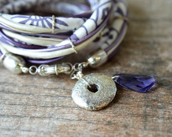 Bohemian wrap bracelet Silver dangle bracelet Lavender fabric leather wrap around bracelet India cotton cord cuff bracelet Textile jewelry