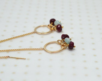 Gold cicle threader earrings Amazonite ruby dangle ear threads Gemstone cluster drop earrings Long thread through earrings