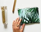 Kuta palm leaf print mini pouch bag