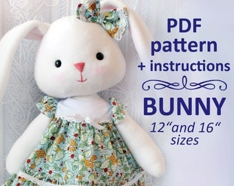 Pattern Bunny 12 and 16 inches tall