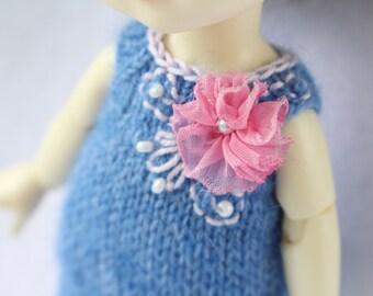 Blue-jeans knitted dress tunic for Lati yellow / PukiFee bjd