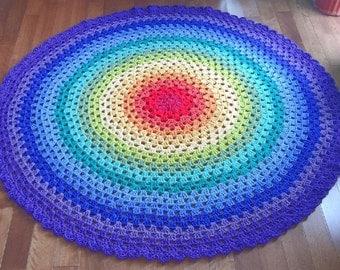 Crochet doily rug, rainbow rug, rainbow mandala, crochet rug, nursery rug READY TO SHIP