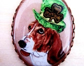 St Patrick's Day Basset Hound Original Copper Plate Pin