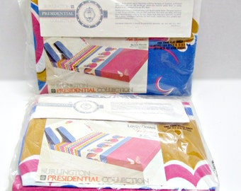 RARE!! Anita Wagenvoord Percale NIP Twin Sheets, Fitted & Flat, Mod 'Lovey Doves' Pattern, Blue Fuchsia Gold, Dorm Guest Room Bedding Linens