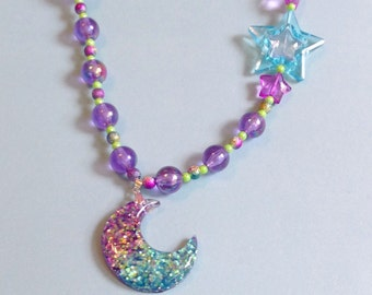 Aurora Magic - Sparkle Moon Stretch Necklace with Glitter and Iridescent Beads and Stars