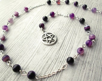 Wiccan Prayer Beads, Pagan Prayer Beads, Witches Ladder, Pagan Rosary beads, Purple agate gemstones, Wish beads, Purple Witches Ladder