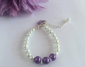 Pearl Flower Girl Bracelet, Children's Pearl Bracelet, Flower Girl Wedding Jewelry, Flower Girl Bracelet Gift, Ring Bearer Gift