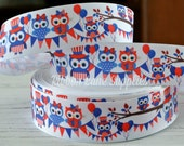 "1.5"" Ribbon by the Yard-OWL American July 4th  USA Red-White-Blue Grosgrain Ribbon-supplies by Ribbon Lane Supplies on Etsy"