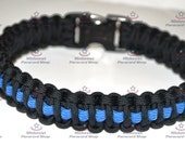 Deluxe Police Thin Blue Line Paracord Dog K-9 Collar - All Sizes