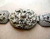 Vintage Brass Bracelet - Repousse Bracelet - Flower Bracelet - Vintage Panel Bracelet