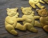 12 Teddy Bear Stampings - Brass Bears - Brass Finding Destash - Brass Findings - Brass Lot