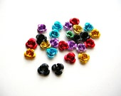 Day of the Dead Roses - Mini Altar Roses - Colorful Roses - Metal Rose Lot - Tiny Metal Roses - 9mm