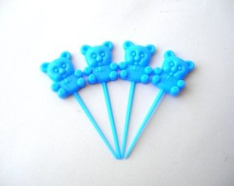 12 Blue Plastic Teddy Bear Cupcake Toppers - Plastic Flat Back Bears - Scrapbooking - Baby Shower - Birthday Party