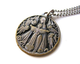 Beautiful Vintage Religious Medal - Mary Jesus and Angels - Religious Pendant
