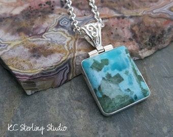 Sky blue amazonite with forest green diopside and sterling silver pendant necklace - silversmith metalsmith