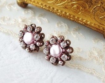 Pink Rhinestone Earrings. Vintage Style Rhinestone Jewelry. Pink Studs. Handmade Unique Gift. Gift Boxed Jewelry. Gift Ideas for Her