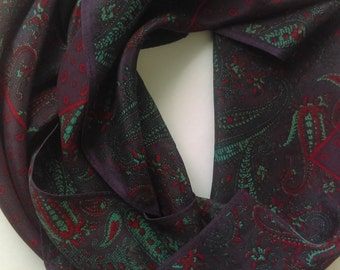 Anne Klein Purple Red Turquoise Paisley Silk Scarf