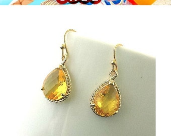 Elegant Yellow Topaz Gold Wedding Earrings,Drop, Dangle, Glass Earrings, bridesmaid gifts,Wedding jewelry