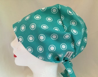 Scrub Hat Tie Back Pixie Style Green with white dots