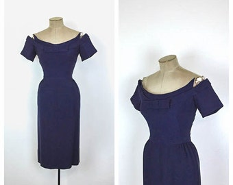 1950s Howard Greer Wiggle Dress • 50s Navy Blue Fitted Cocktail Dress • 60s Couture Evening Dress • Bow • Medium