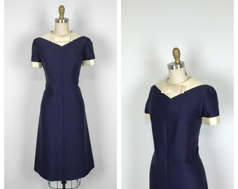 60s Blue and White Shift Dress with Bow •  1960s Sheath Cocktail Dress • Short Sleeve Structured Dress • Medium