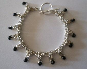 Beaded Byzantine Bracelet in Sterling Silver