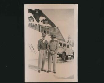 vintage black and white photo of the ski resort, Timberline Lodge on Mt. Hood.