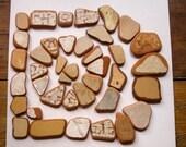 39 Pieces ,Sea Pottery Bulk,Earthy Color Beach Pottery, Brown/Mustard, Pendant/Mosaic/Craft Supplies