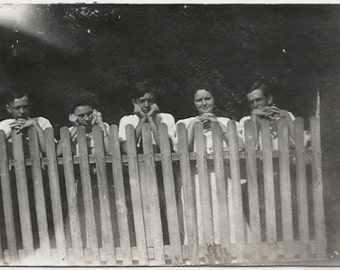 Old Photo Women and Men Behind Fence Leaning on Fence 1910s Photograph snapshot vintage