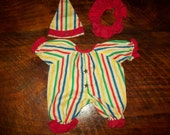 Clown outfit doll clothes circus funny striped hat bell kids big top bozo folk vintage