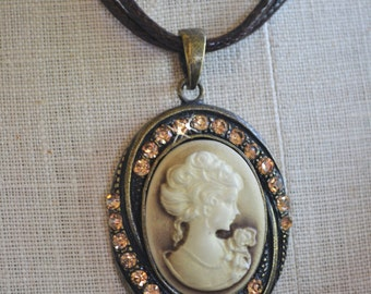 Cameo Necklace, Cameo Pendant, Rhinestone Studded Cameo, Waxed Leather Cord Necklace, Vintage Cameo, Victorian Woman Ivory Cameo Necklace